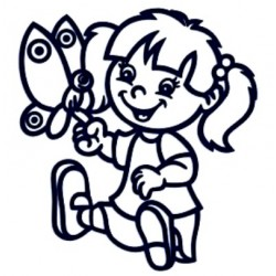 Samolepka dítě v autě se jménem- holka s motýlem