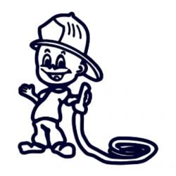 Samolepka dítě v autě se jménem- hasič s hadicí