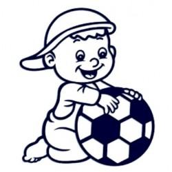 Samolepka dítě v autě se jménem- kluk s míčem