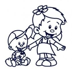 Samolepka na auto se jménem dítěte- sourozenci měnší kluk a holka