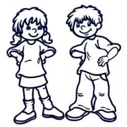 Samolepka děti v autě se jmény- sourozenci holka a kluk 6-12let
