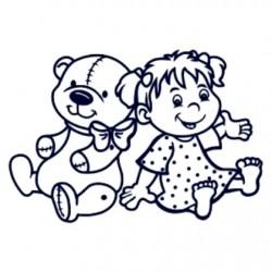 Samolepka dítě v autě se jménem- holka s plyšákem