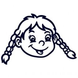 Samolepka dítě v autě se jménem- holka copatá