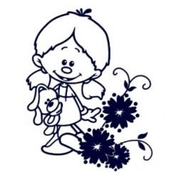 Dítě v autě- nálepka na auto se jménem- holka s květinou