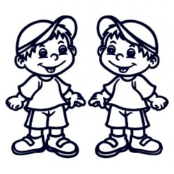 Samolepka na auto se jménem dítěte- dvojčata 03