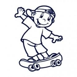 Samolepka dítě v autě se jménem- kluk na skateboardu