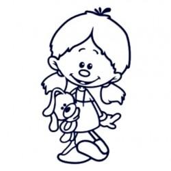 Samolepka dítě v autě se jménem- vlasatá holka s plyšákem