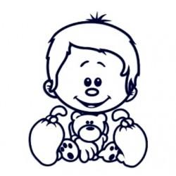 Samolepka dítě v autě se jménem- vlasatý kluk s plyšákem