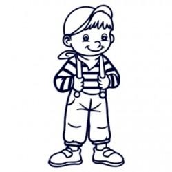 Samolepka dítě v autě se jménem- kluk s kšandami