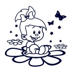 Samolepka na auto se jménem dítěte- holka na květině