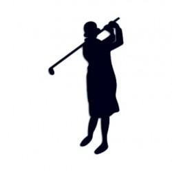 Samolepka na auto s motivem golfu- golfistka