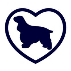 Samolepka na auto-pes v autě - kokršpaněl a srdce