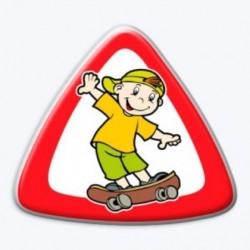 3D samolepka na auto-Dítě v autě- kluk na skateboardu