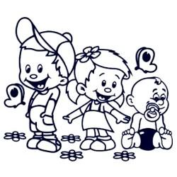 Nálepka děti v autě se jmény - sourozenci - holka a dva kluci 02